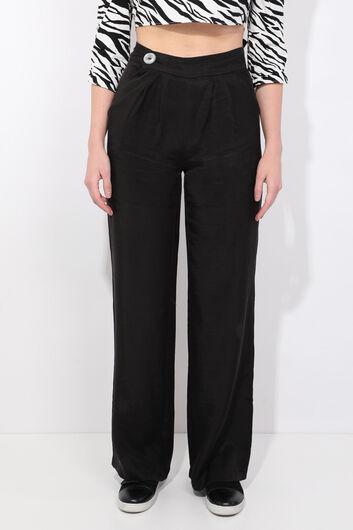 Женские черные широкие брюки-тенсел - Thumbnail