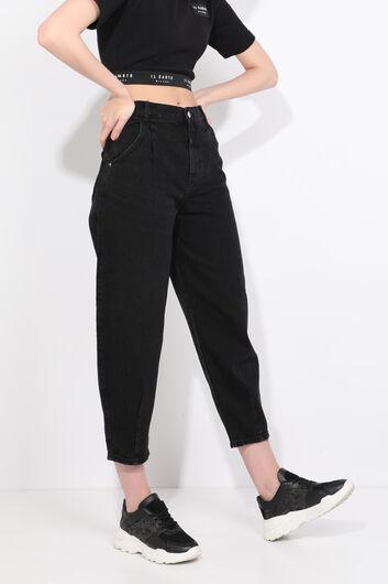 BLUE WHITE - بنطلون جينز أسود نسائي (1)