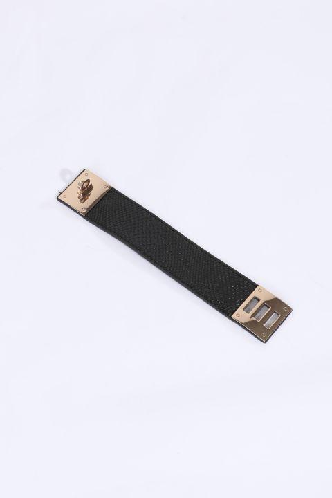 Женский браслет с черным поясом