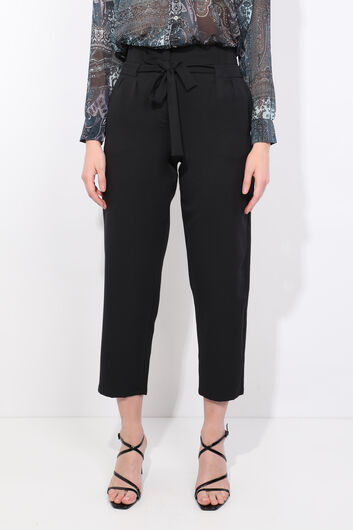Women's Black Belted High Waist Fabric Trousers - Thumbnail