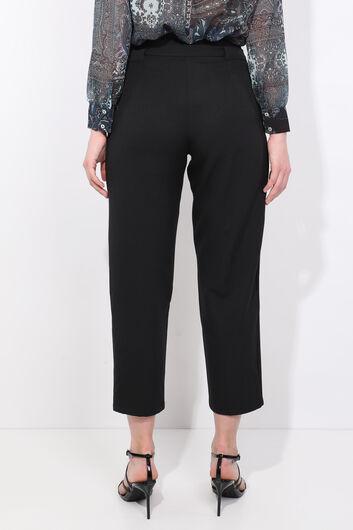 Женские брюки из ткани с высокой талией черного цвета с поясом - Thumbnail