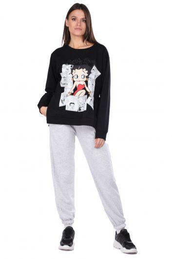 Women Black Betty Boop Sweatshirt - Thumbnail