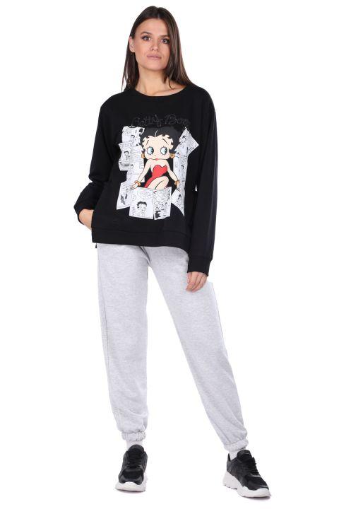 Women Black Betty Boop Sweatshirt