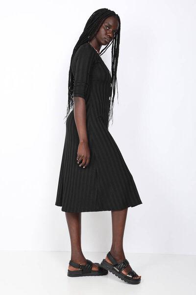 BLUE WHITE - Женское черное платье с пуговицами в рубчик (1)