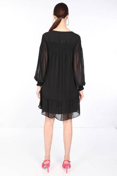 MARKAPIA WOMAN - Женское черное шифоновое платье на пуговицах (1)
