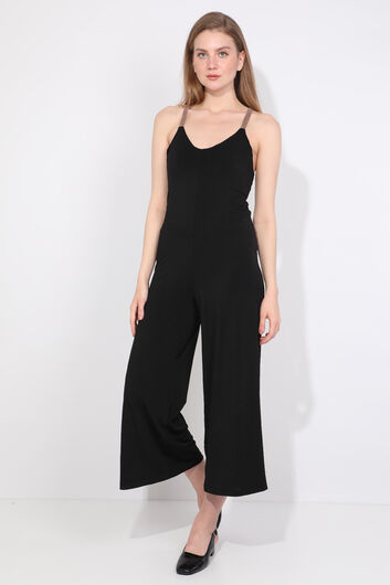 Women's Black Cross Strap Jumpsuit Trousers - Thumbnail