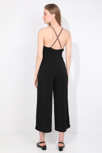 MARKAPIA WOMAN - Women's Black Cross Strap Jumpsuit Trousers (1)