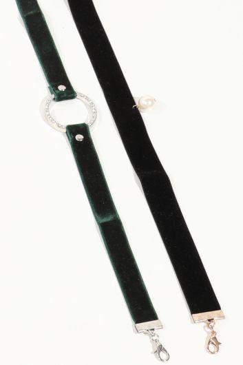 MARKAPIA WOMAN - Женское комбинированное колье-чокер черного цвета (1)