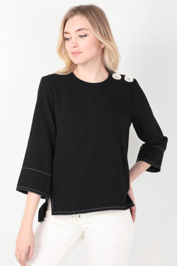 MARKAPIA WOMAN - Women's Black Contrast Stitching Blouse (1)