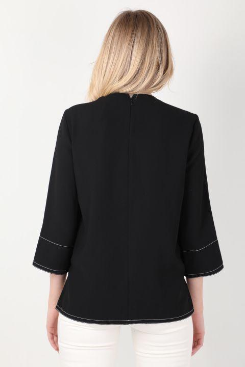 Women's Black Contrast Stitching Blouse