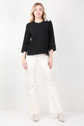 Women's Black Contrast Stitching Blouse - Thumbnail