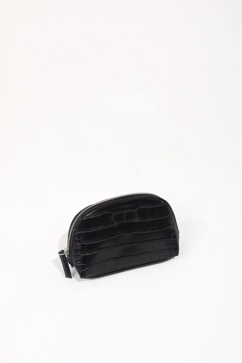 Women's Black Crocodile Pattern Leather Look Makeup Bag