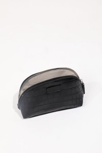 Women's Black Crocodile Pattern Leather Look Makeup Bag - Thumbnail