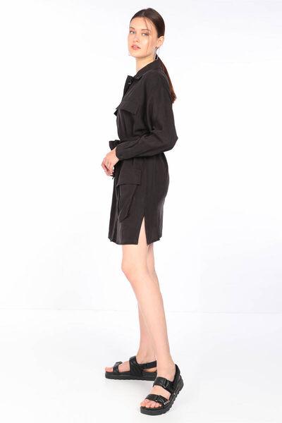 MARKAPIA WOMAN - Женское черное платье-пиджак с поясом и карманами (1)