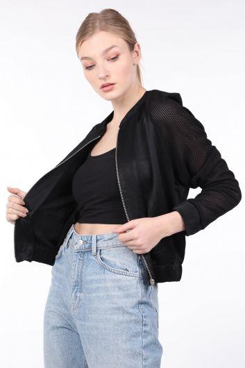 MARKAPIA WOMAN - Women's Black Knit Sleeve Bomber Jacket (1)