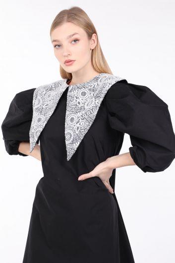 فستان بأكمام بالون أسود بياقة دانتيل نسائي - Thumbnail