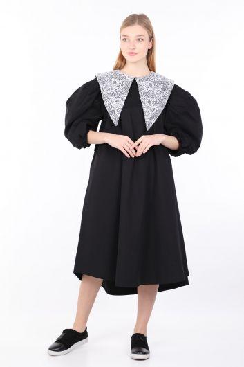 Черное женское платье с воздушными шарами и кружевным воротником - Thumbnail
