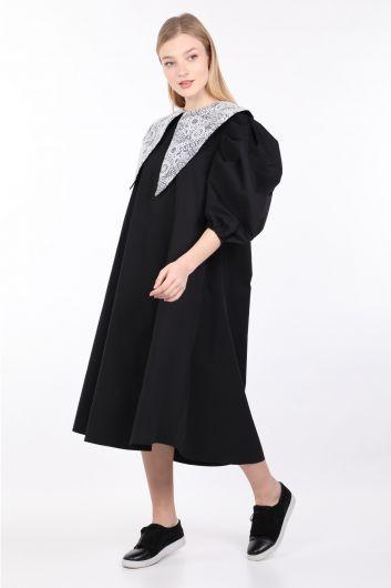 Women's Black Lace Collar Balloon Sleeve Dress - Thumbnail