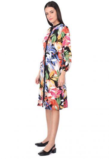 MARKAPIA WOMAN - Женское черное платье-рубашка с узором в виде листьев и пуговицами (1)