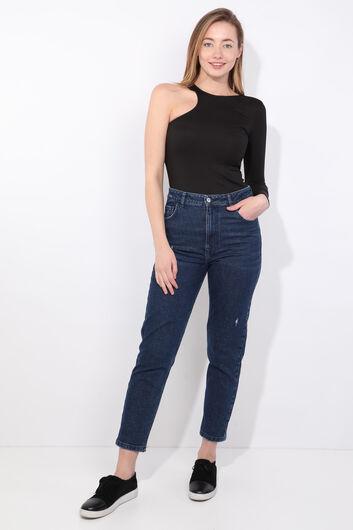 Женская черная блузка с одним рукавом в рубчик - Thumbnail