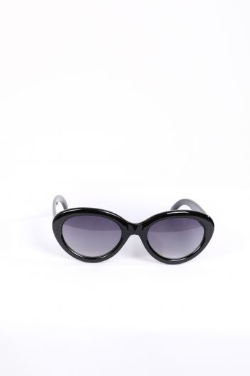 نظارة شمسية بيضاوية سوداء للنساء - Thumbnail