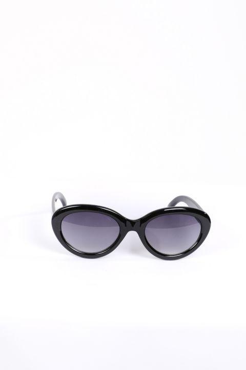 نظارة شمسية بيضاوية سوداء للنساء