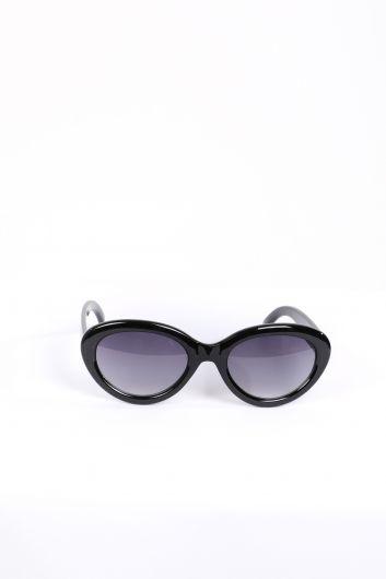 Женские черные овальные солнцезащитные очки - Thumbnail