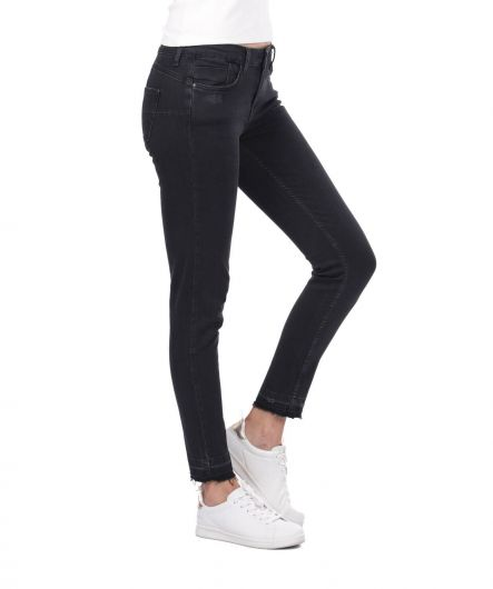 BLUE WHITE - Women's Black Cut-Out Jean Trousers (1)
