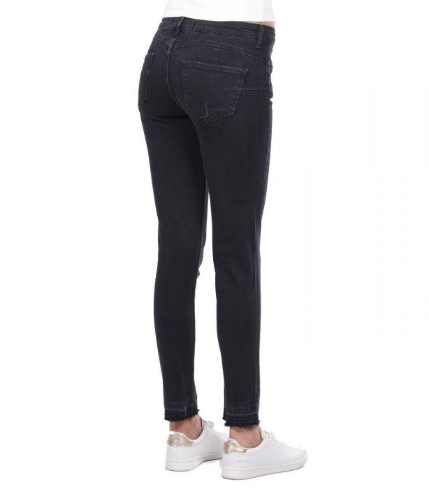 Women's Black Cut-Out Jean Trousers