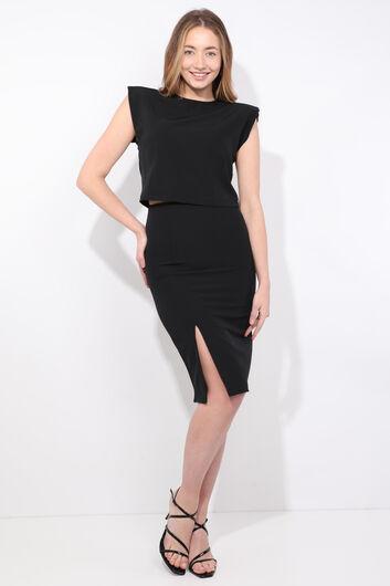 Women's Black Padded Skirt Blouse Set - Thumbnail