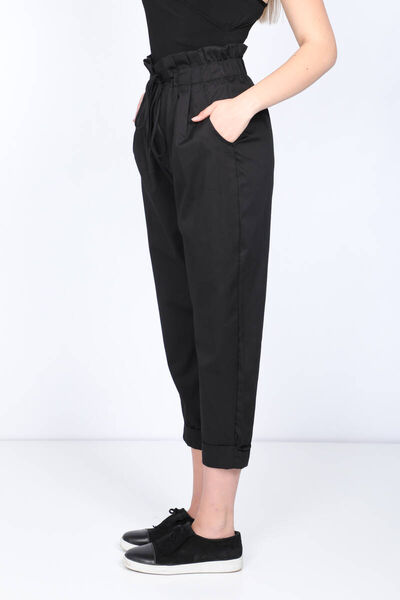 MARKAPIA WOMAN - Women's Black Paperbag Double Leg Trousers (1)