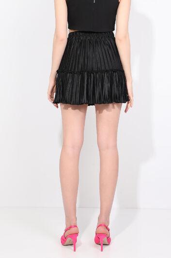 Women's Black Pleated Mini Skirt - Thumbnail