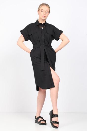 Женское черное платье из поплина - Thumbnail
