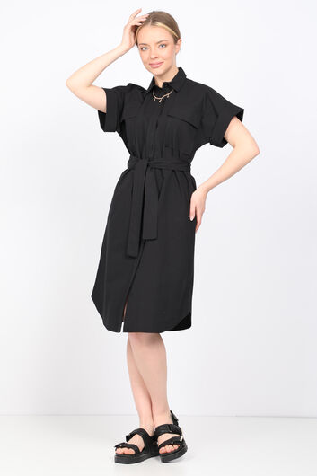 MARKAPIA WOMAN - Женское черное платье из поплина (1)