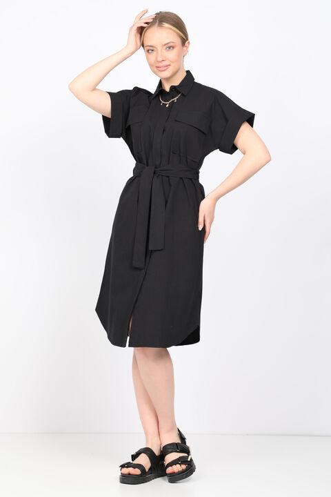 Женское черное платье из поплина