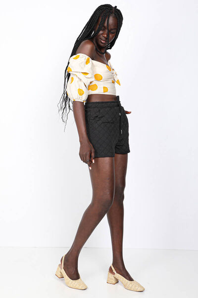 MARKAPIA WOMAN - Женские черные стеганые шорты (1)