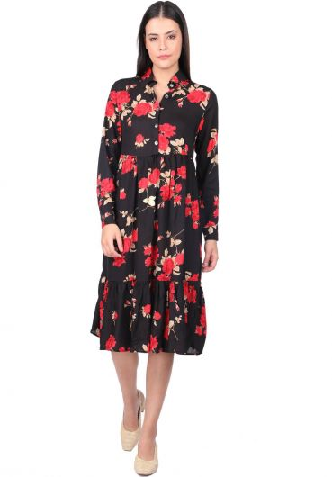 Women's Black Rose Patterned Gathered Dress - Thumbnail