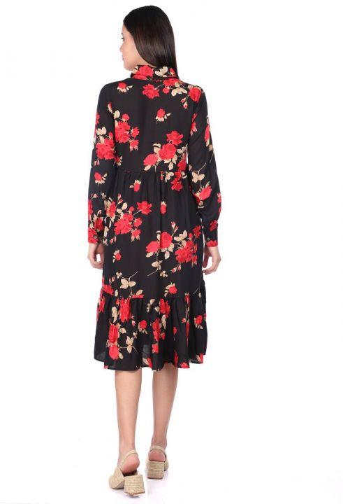 Women's Black Rose Patterned Gathered Dress