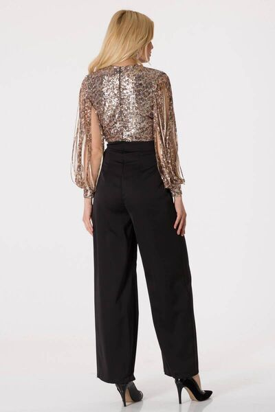 Shecca By Dayi - Women's Black Sequined Double Breasted Collar Evening Jumpsuit (1)