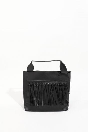 Черная женскаябольшая сумка скожанойотделкой - Thumbnail