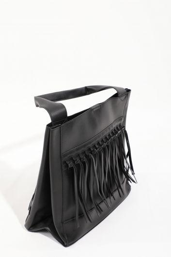 MARKAPIA WOMAN - Черная женскаябольшая сумка скожанойотделкой (1)