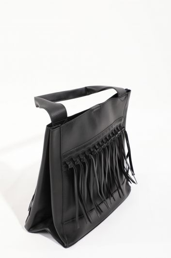 Women's Black Leather Look Tote Bag  - Thumbnail