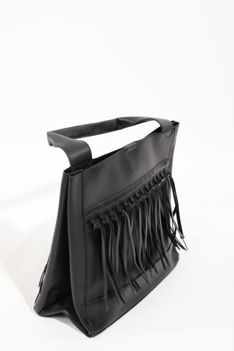 Women's Black Leather Look Tote Bag