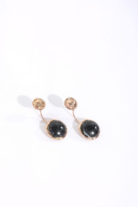 Women's Black Stone Dangle Earrings