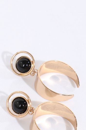 Women's Black Stone Gold Earrings - Thumbnail