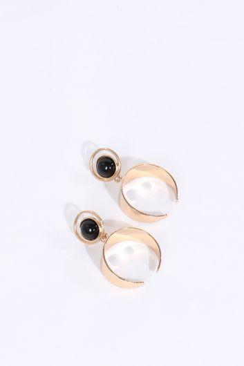 Женские золотые серьги с черным камнем - Thumbnail