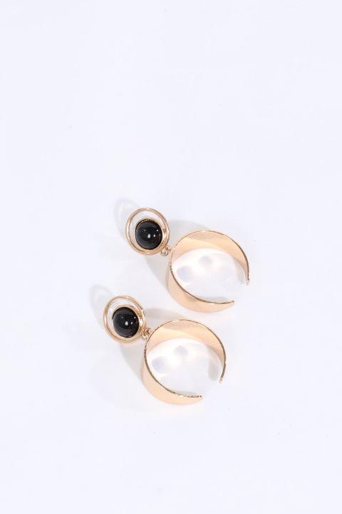 Женские золотые серьги с черным камнем