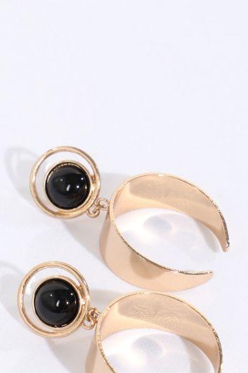 MARKAPIA WOMAN - Женские золотые серьги с черным камнем (1)