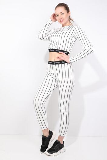 FAMPA - طقم لباس ضيق بأكمام طويلة مخطط أسود نسائي (1)