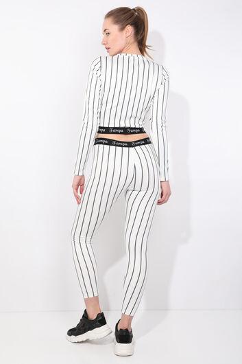 Women's Black Striped Long Sleeve Tights Set - Thumbnail